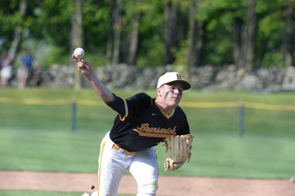 Brunswick's Teddy Sabato hurls a pitch to the mound in Friday's FAA Championship game (John Ferris Robben Photo)