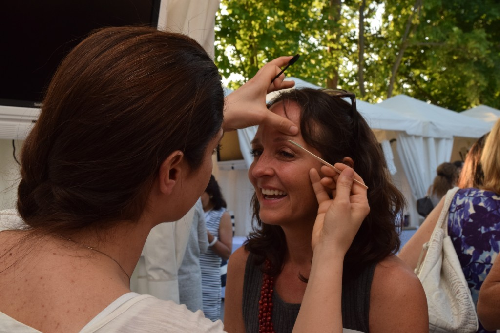 Jennifer-Kelly has her makeup done by Danielle Cervi of the Jhouse spa.