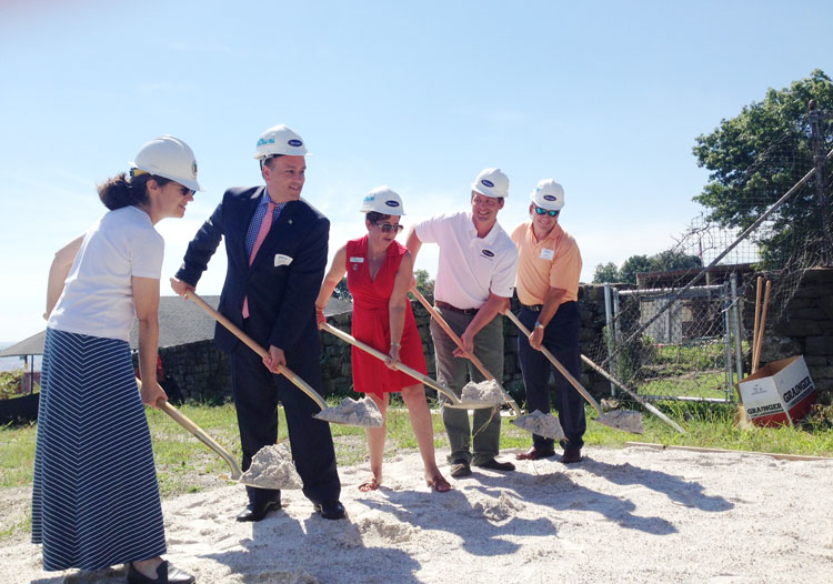 From left to right: Commissioner of Public Works Amy Siebert, First Selectman Peter Tesei, Junior League of Greenwich President Sue Moretti Rogers, Wernert Construction General Manager Max Wernert, and Parks & Recreation Marine and Facility Operations Division Superintendent Jeff Friedag.