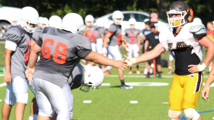 Greenwich High and Brunswick held a controlled scrimmage at Cosby Field on Monday. (Evan Triantafilidis Photo)