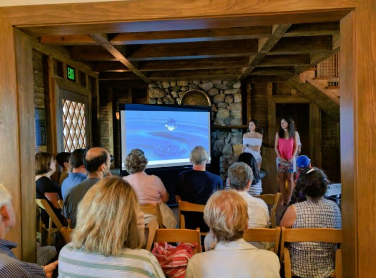 "Kathryn Papas and Sofia Dodaro, showing   their documentary, ""Nanoporous Graphene: A Filter for the Future, at the Bruce Museum's Seaside Center."