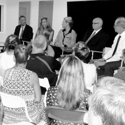 "The panel for the Nantucket Project program ""Addiction: A Conversation on Connecticut's Opioid Addiction."" Left to right is Gary Mendell, founder of Shatterproof, Debroah Morgan LSCW from Rye, Tessandra Person, executive director of Family & Children's Service of Nantucket County, Frank Reynolds, CEO of PixarBio, and Dr. Richard Lipton, Edwin S. Lowe Professor and vice chair of neurology, professor of psychiatry and behavioral science at Albert Einstein College of Medicine. (Anne. W. Semmes photo)"