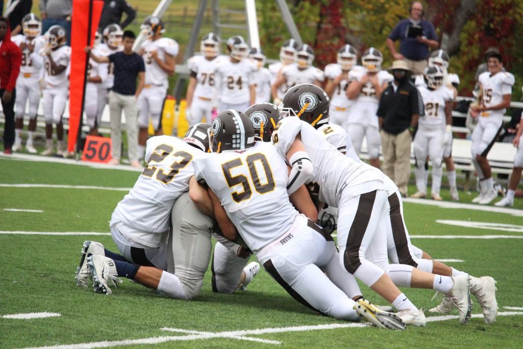 The Brunswick defense came up big in the 27-26 win over Kent School [Evan Triantafilidis Photo]