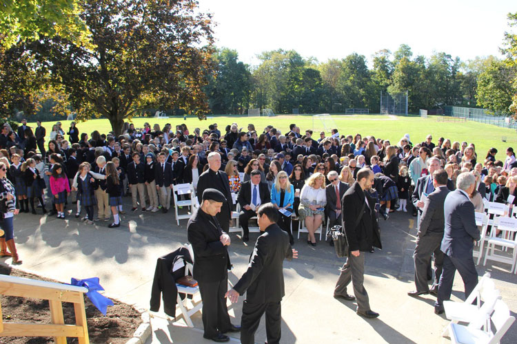 The Greenwich Catholic School community gathered at the ribbon cutting ceremony for the new Upper School building.