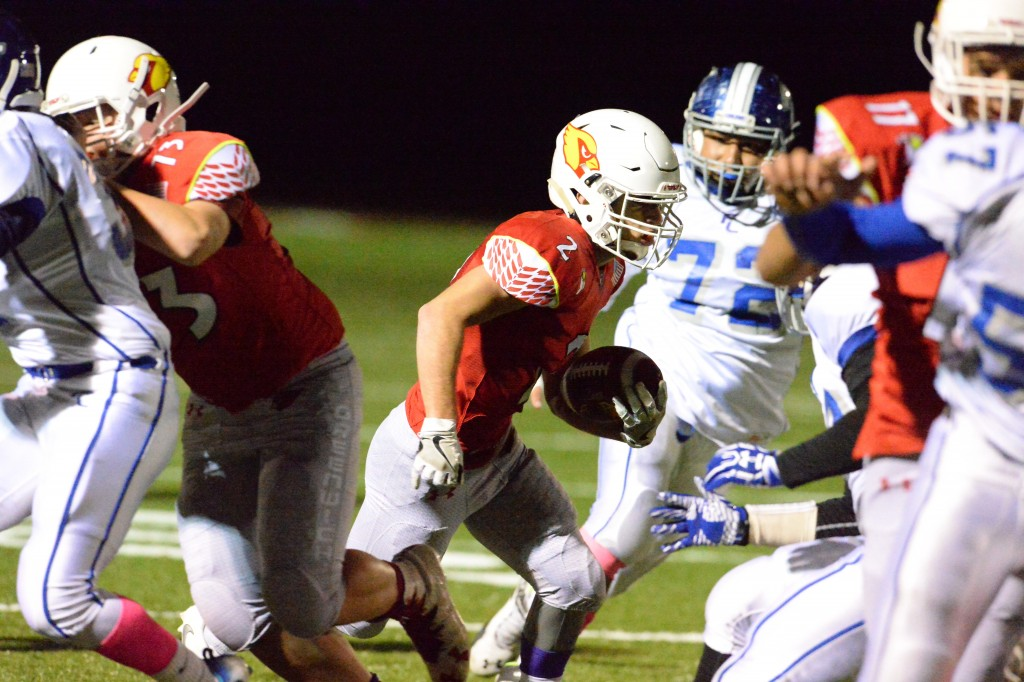 Greenwich senior running back Kevin Iobbi takes the hand off during Friday's game (John Ferris Robben photo)