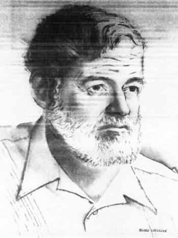 Sketch of Ernest Hemingway used in John Robben's article on Ernest Hemingway.
