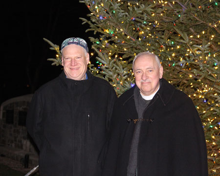 Christ Church Greenwich's senior Rev. Jim Lemler and Temple Sholom's senior rabbi Mitchell Hurvitz came together to light the menorah and Christmas tree in the annual Interfaith celebration of lights. (contributed photo)