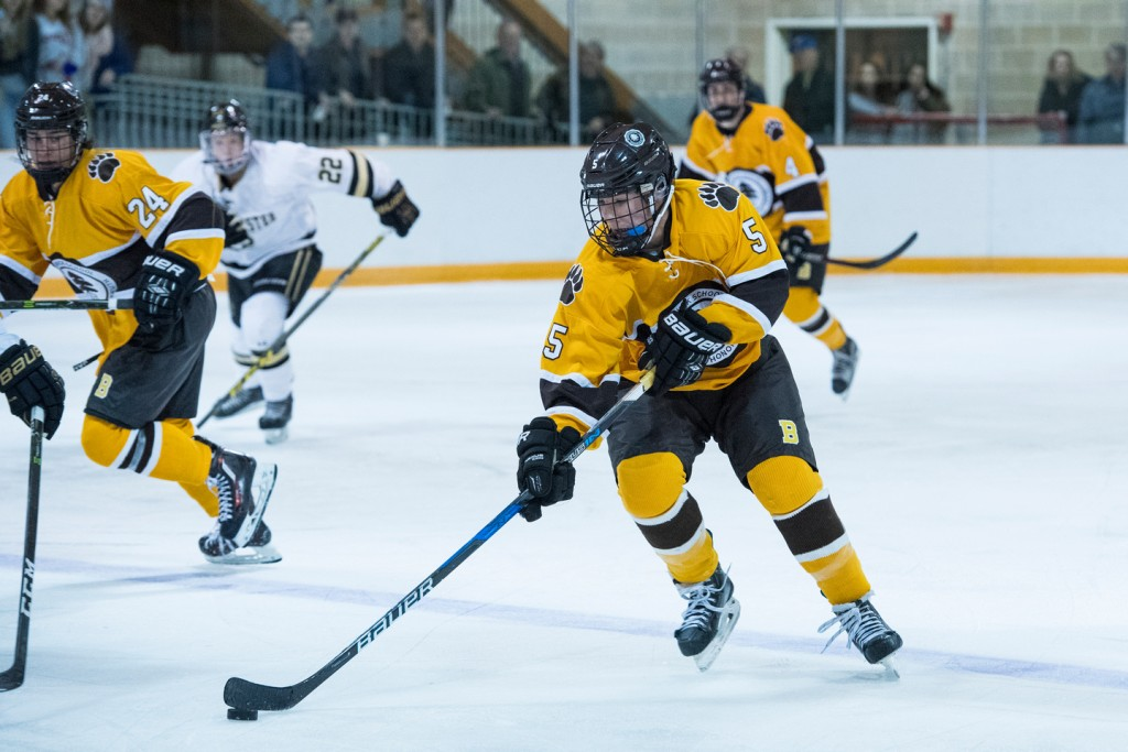 Brunswick's Edward Glassmeyer skates with the puck in the Nichols-Belmont Tournament in Buffalo, N.Y. on Wednesday. (Contributed photo)