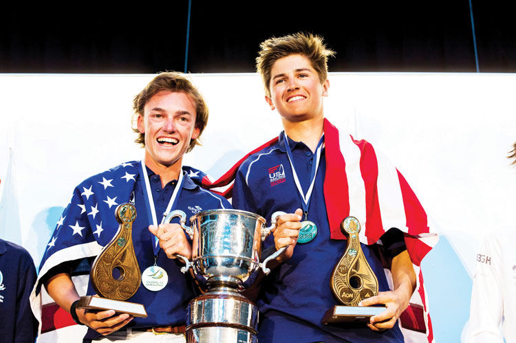 Brunswick School's Jack Parkin, at right, poses for a photo with Wiley Rogers at the trophy ceremony (photo courtesy of World Sailing)