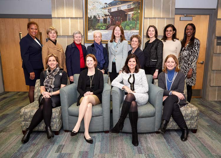 Co-chairs seated: Randi Nielsen; Mimi Duff; Melissa Turner; Jennifer D. Port. Standing left: Romelle Jones Maloney, MD; Ruth Fattori; Anne A. Brewer, MD, MPH; Cyndi Koppelman; Mary Lee A. Kiernan; Denise C. Doria; Pepper Anderson; Nisha Kumar Behringer; Stacey Tisdale.