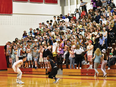 The Greenwich High School Cardinal Crazies were out in force Tuesday night, cheering on the home team to a 59-50 victory over the Black Knights. (Paul Silverfarb photo)