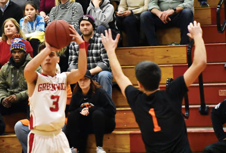 Big Red junior Elias Gianopoulos fires off the shot during Tuesday's victory against Stamford High School. (Paul Silverfarb photo)