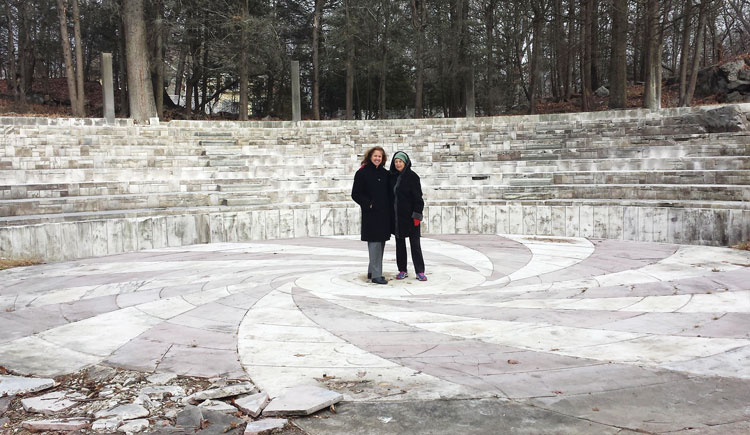 Josie Merck on the right, and Amy Wilfert, senior partner of the Day Pitney law firm in Greenwich assisting Merck with the legalities involved in the removal and relocation of the O'Neil amphitheater to Sarah Lawrence College. The stage is to be reused by the new Lia Fail property owners. (Jennifer Pagnillo, Esq. photo)