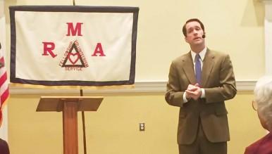 Congressman Jim Himes speaks to the Retired Men's Association. (Megan Alderman-Person photo)