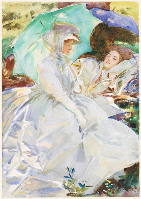 """Simplon Pass Reading,"" John Singer Sargent (American, 1856-1925) about 1911. Translucent watercolor and wax resist, over graphite one paper, Museum of Fine Arts, Boston. The Hayden Collection—Charles Henry Hayden Fund. Photograph Museum of Fine Arts, Boston."