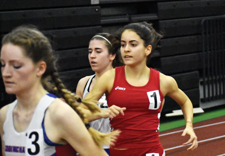 Greenwich's Emily Philippides takes to the 1,000-meter run during Monday's CIAC state open finals. (Paul Silverfarb photo)