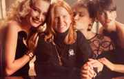 Throwback photo of Estelle, Bobbi, Carla Bruni, Linda Evangelista on a Revlon shoot.