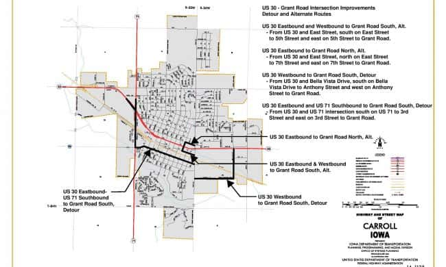 Map Of Official Detours For Highway 30 And Grant Road Project Now - Us-highway-71-map