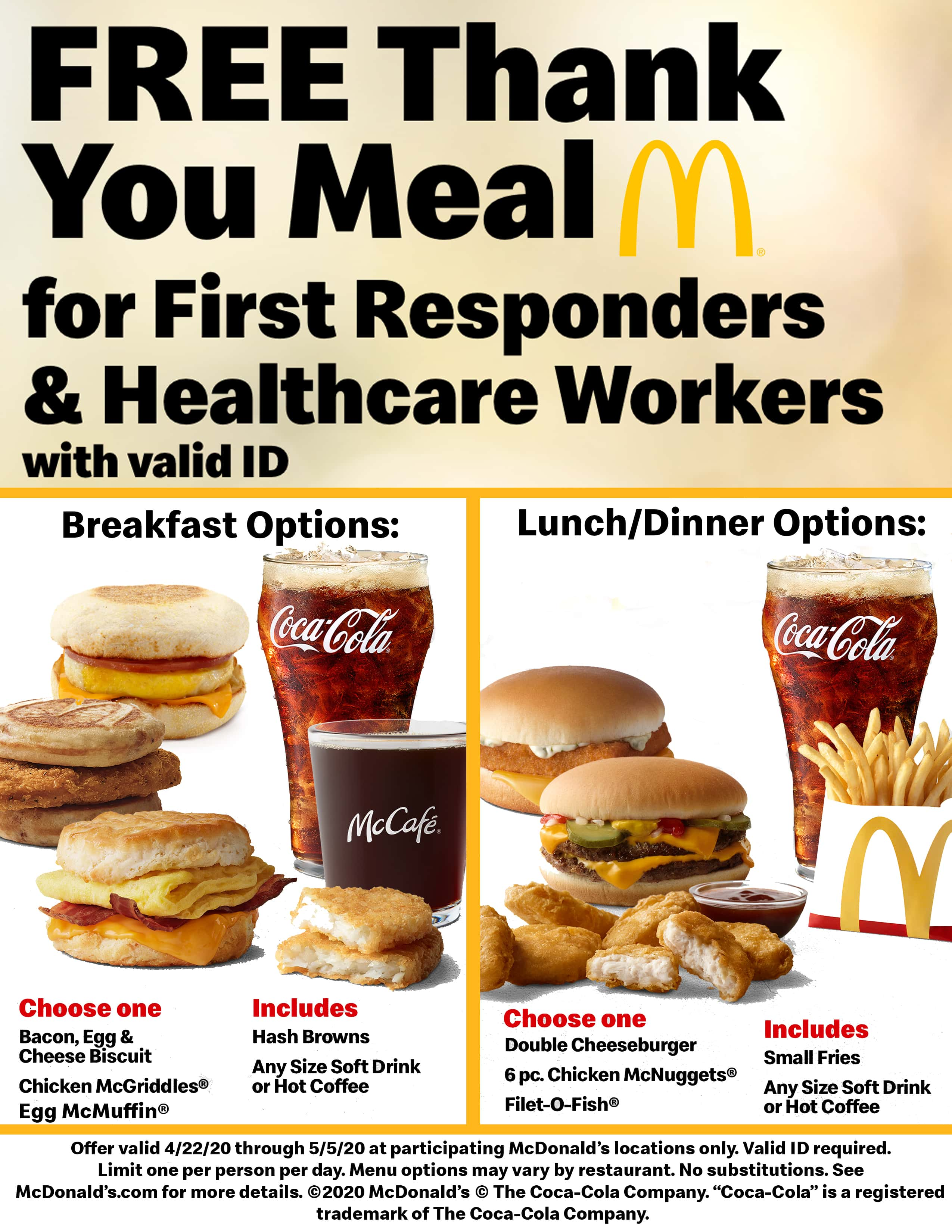 McDonald's Free Thank You Meal for First Responders ...