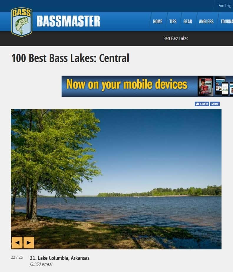 Lake Columbia in Bassmaster Top 100 | Magnolia Radio