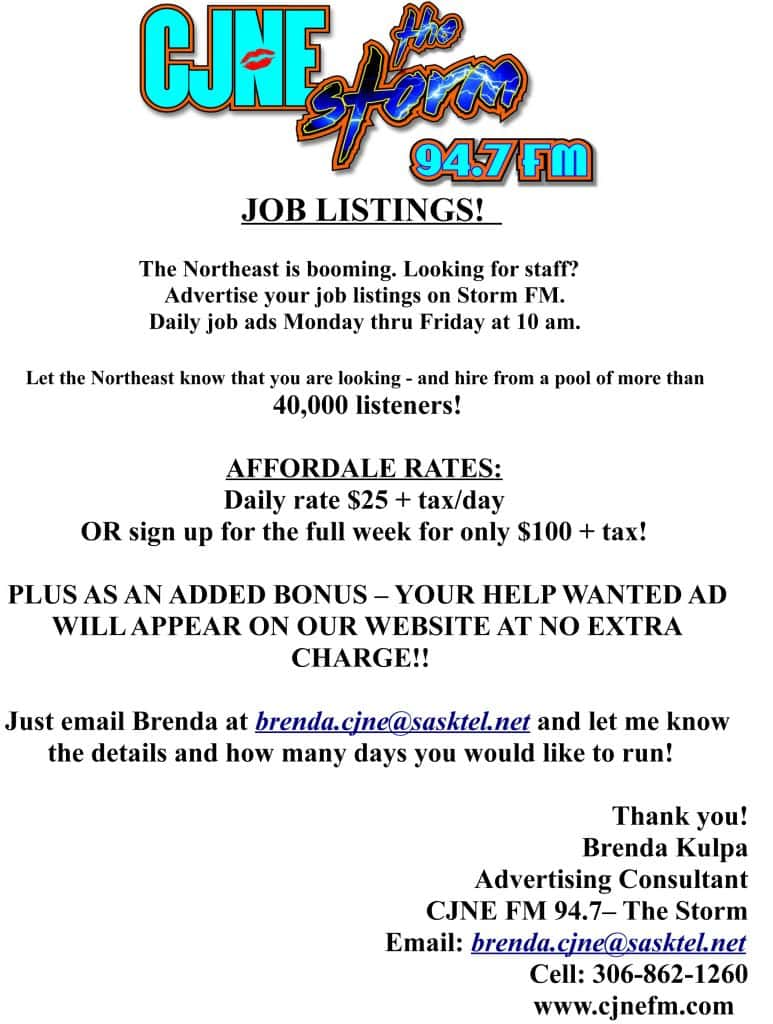 storm fm job listings | cjne