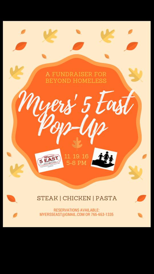 Pop Up FundRaiser at Myers 5 East for Beyond Homeless