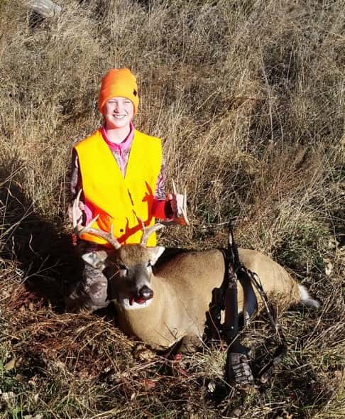 "Jenna Strampher, age 13, first deer 4x4 20"" spread, Holt County"