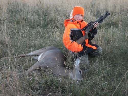 Johanna Jarrott, 10 yrs old, first deer Mentored hunt Fairfax SD. 148 yd shot with contender rifle chambered in 30-30win.