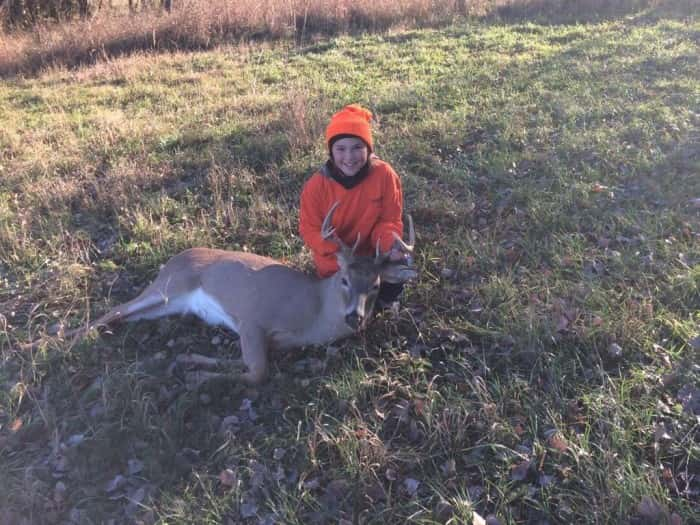 Tylar Humphrey with her first Buck