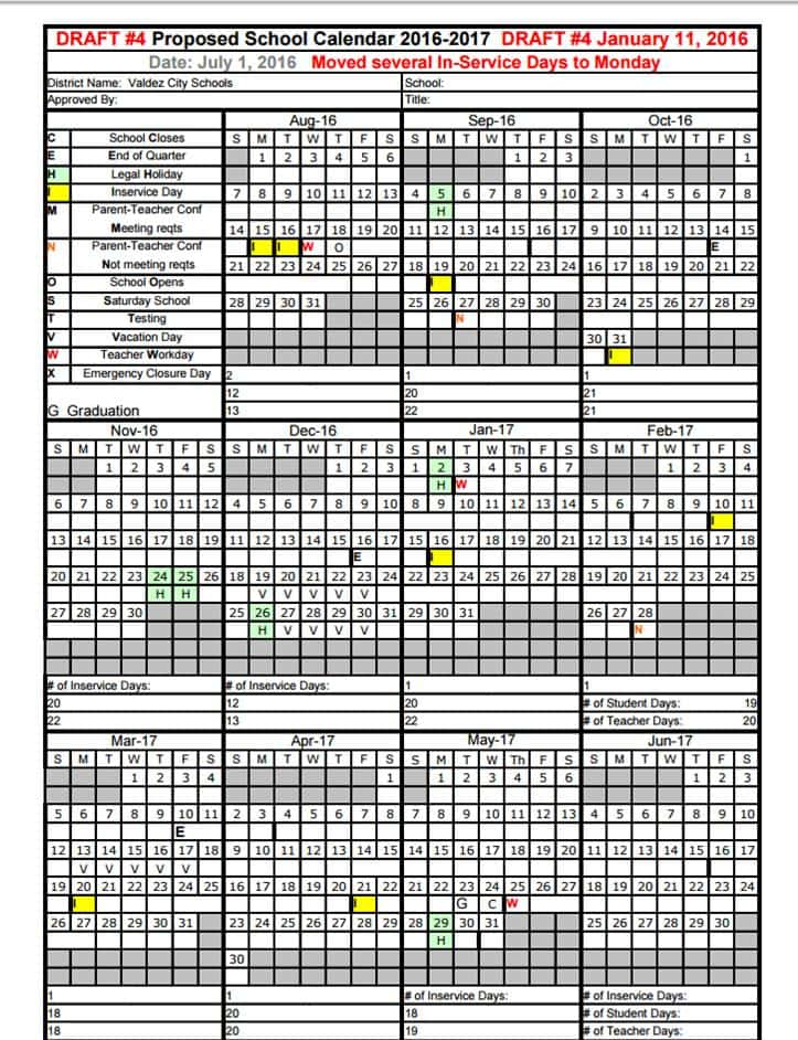 Proposed School Calendar 16-17 Draft #4