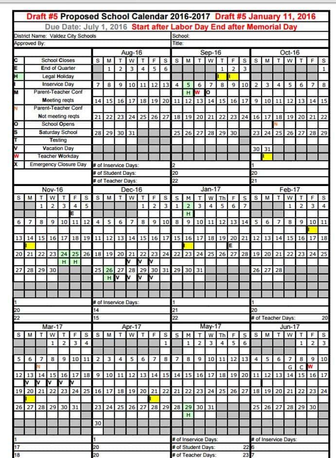 Proposed School Calendar 16-17 Draft #5