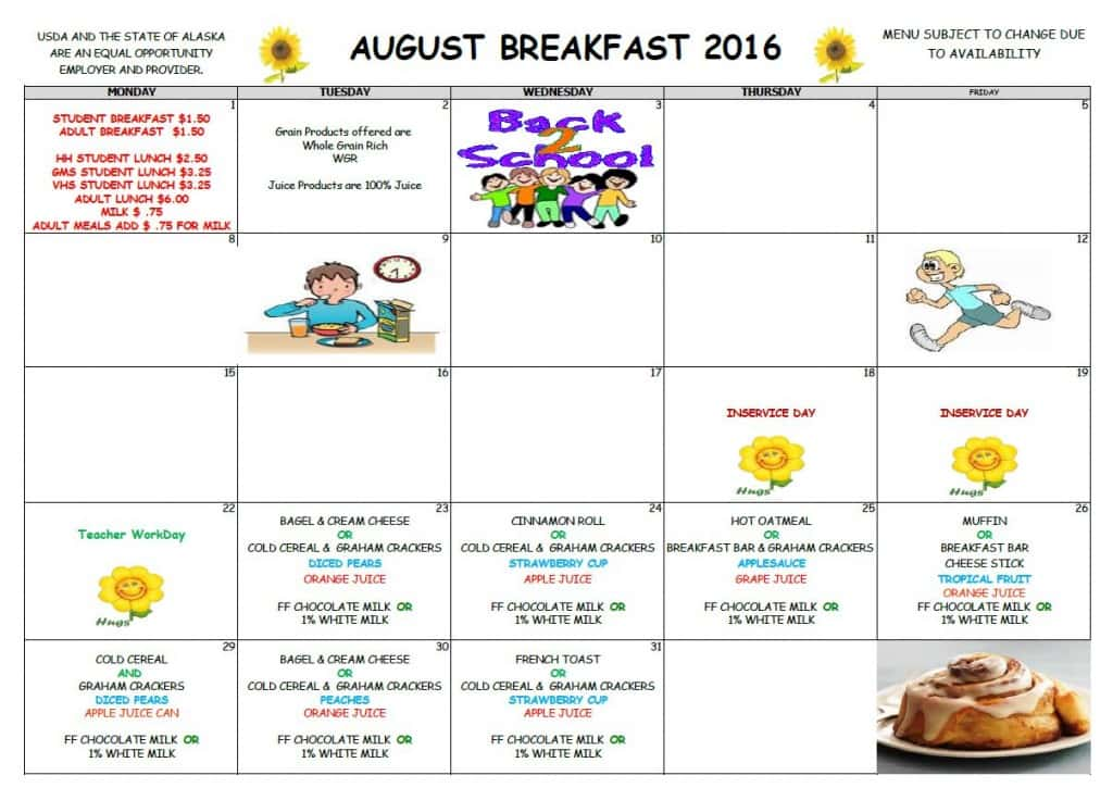 School August Breakfast Menu 2016