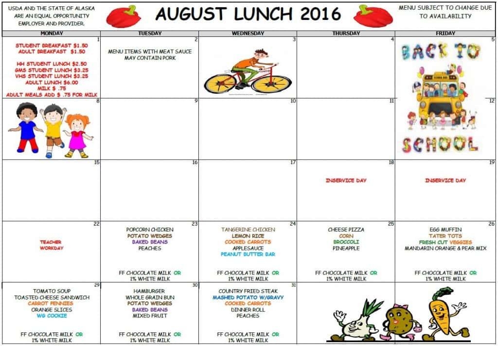 School August Lunch Menu 2016