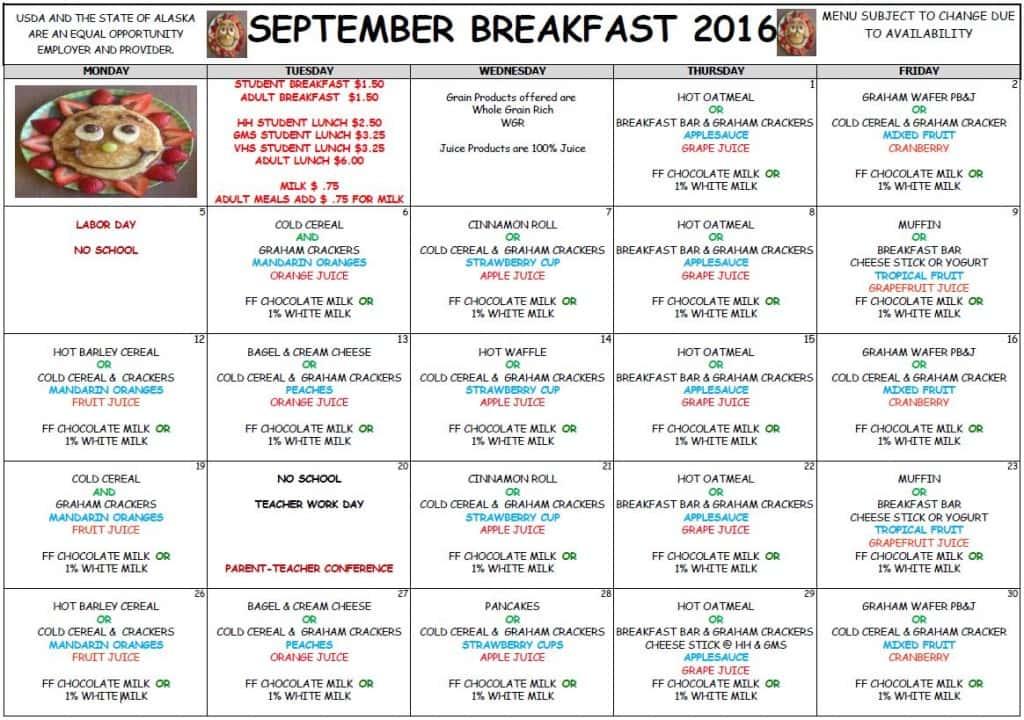 School Sept Breakfast Menu 2016