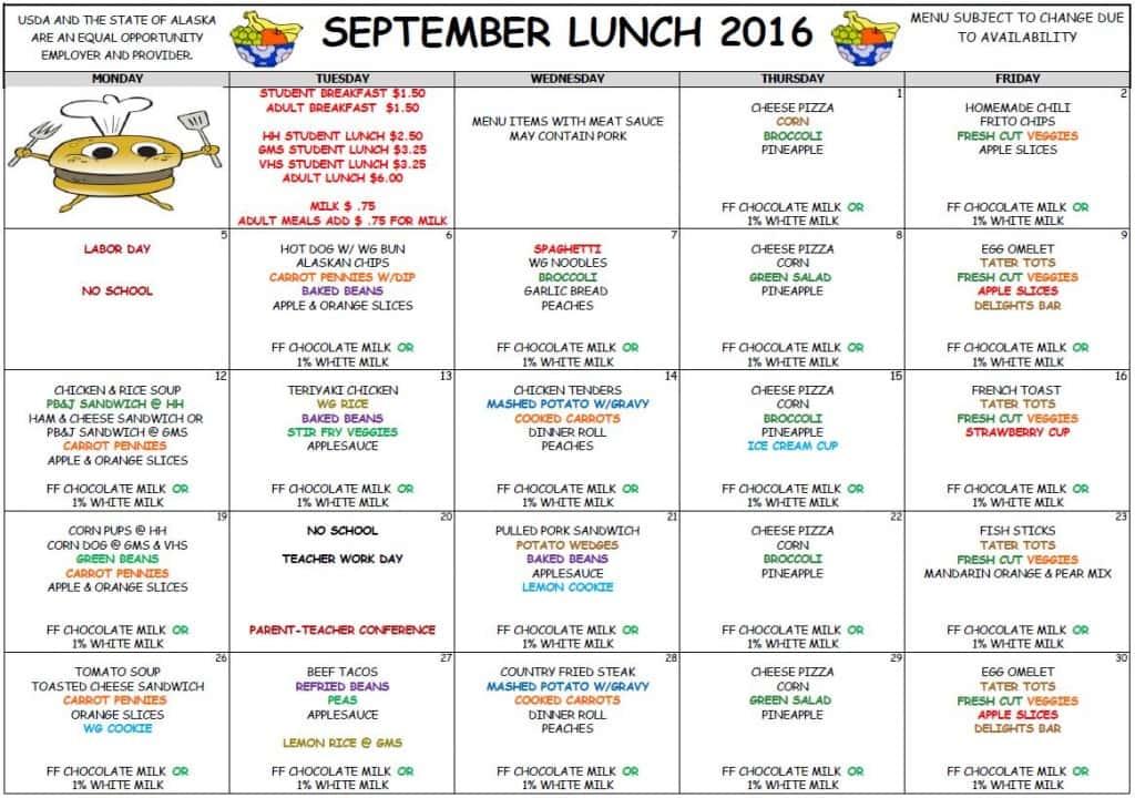 School Sept Lunch Menu 2016