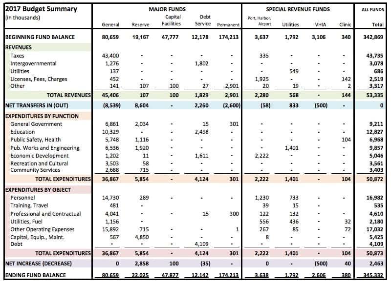 2017 Budget Summary