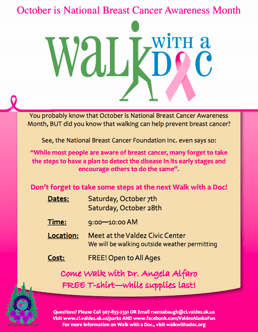 October 2017 Walk with a Doc schedule
