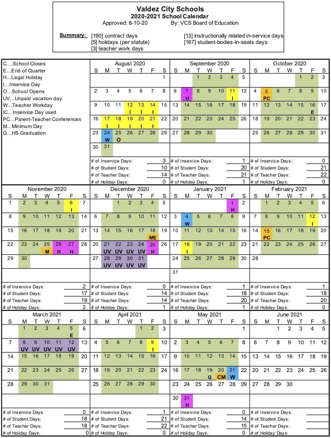 UPDATED 2020-2021 SCHOOL CALENDAR   KVAK