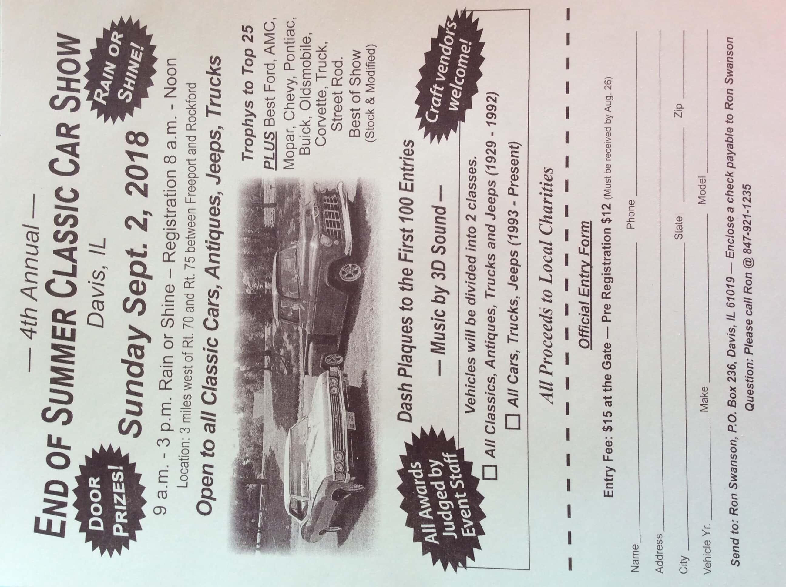 End Of Summer Classic Car Show WJVL - Plant city car show 2018