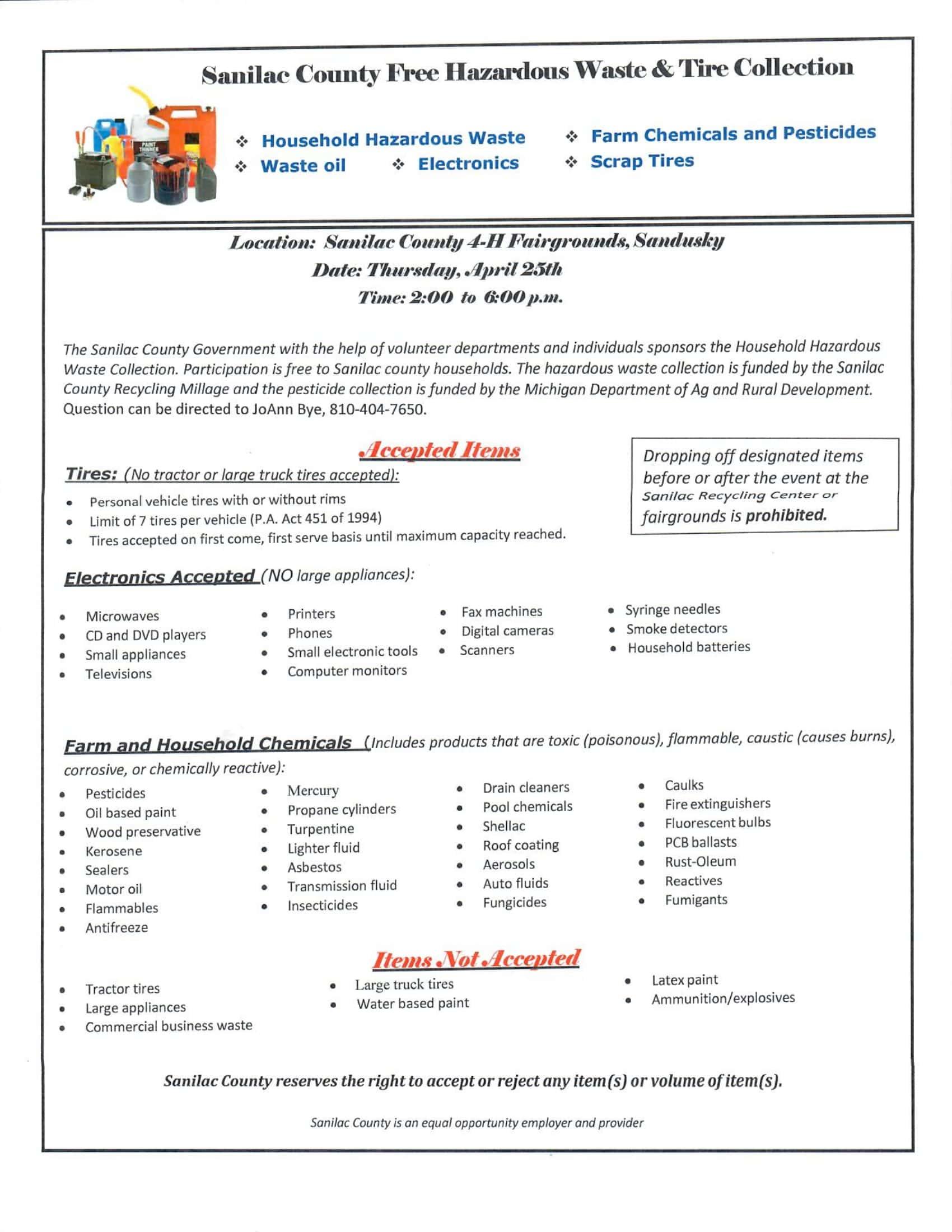 Sanilac County Free Hazardous Waste & Tire Collection | Sanilac