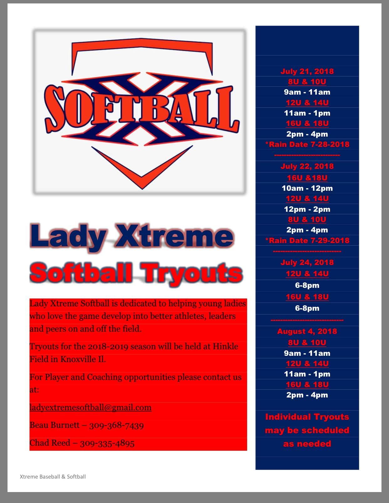 Lady Xtreme Softball Tryouts | 105 3 KFM