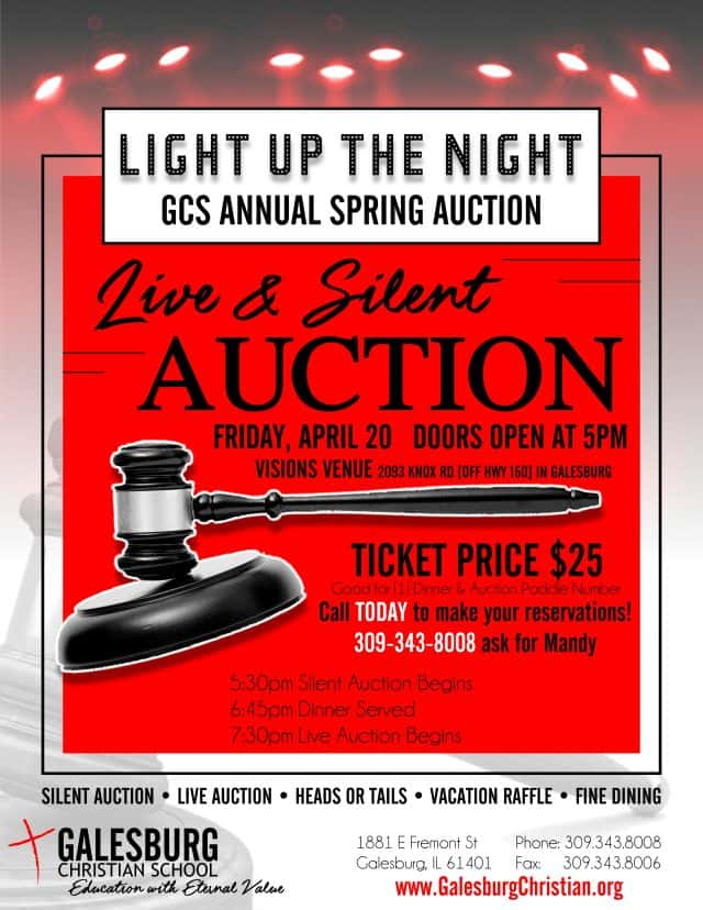galesburg christian school annual spring dinner auction fm 95 waag