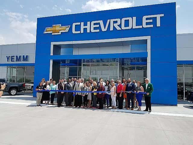 the ribbon has been cut on the new yemm chevrolet building wgil 93 7 fm 1400 am new yemm chevrolet building