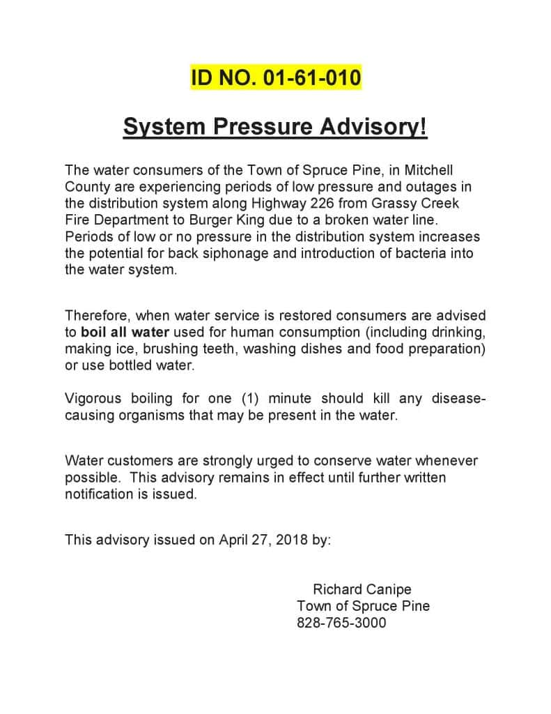 System Pressure Advisory for Spruce Pine Water Customers