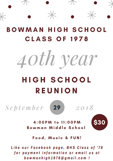 1978 Calendar September.Bowman High School Class Of 1978 40th Year Reunion Wkyk Wtoe