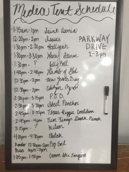 Today's lineup in the Media Tent!