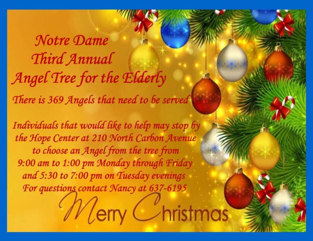Notre Dame sponsors the Third Annual Angel Tree for the Elderly ...