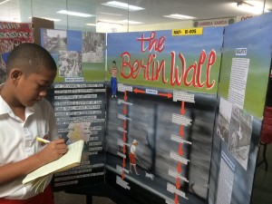 11-yo Alexander Coffin Jr., of Matafao Elementary, and his project about the Berlin Wall.