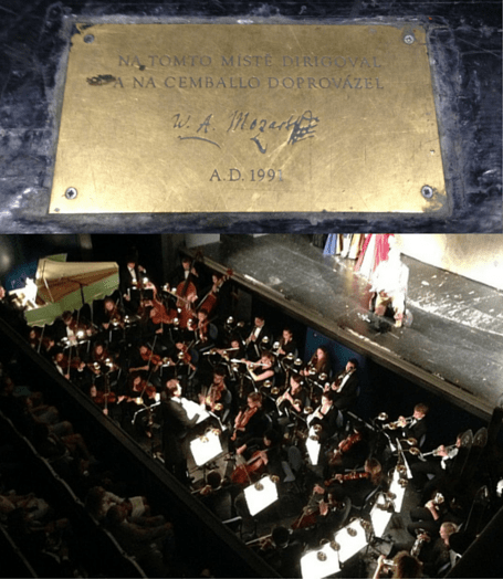 Mozart plaque and orch pit