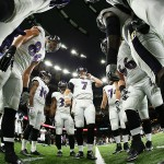 Ravens Huddle Before Saints Game